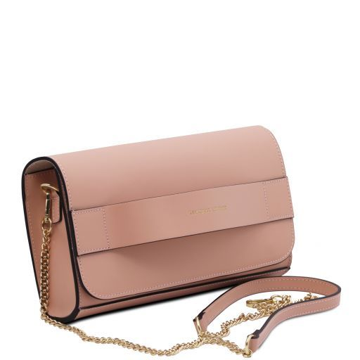 Giulia Leather clutch with chain strap Ballet Pink TL141970