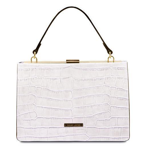Iris Croc print leather handbag Белый TL141839