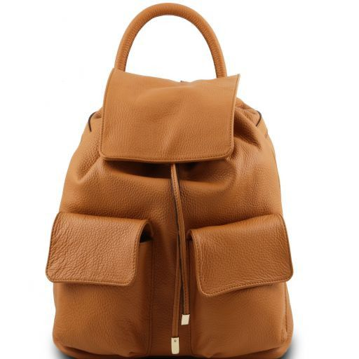 Sapporo Soft leather backpack for women Cognac TL141421
