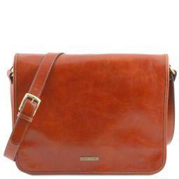 TL Messenger Two compartments leather shoulder bag - Large size Honey TL141254