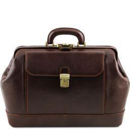 Leonardo Elegante bolso de doctor en piel Marrón oscuro TL141299