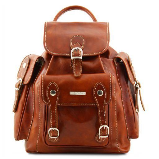 Pechino Кожаный рюкзак с просторными карманами Мед TL9052