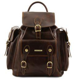 Pechino Exklusiver Rucksack aus Leder Dunkelbraun TL9052