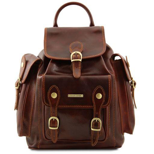Pechino Exklusiver Rucksack aus Leder Braun TL9052