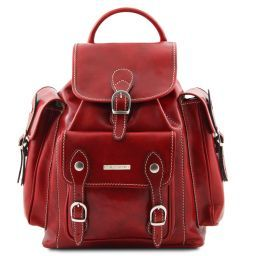 Pechino Leather Backpack Red TL9052