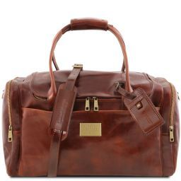 TL Voyager Travel leather bag with side pockets Brown TL141296