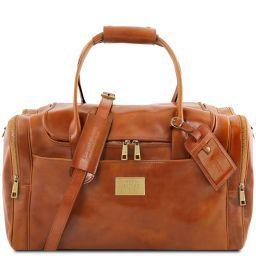 TL Voyager Reisetasche aus Leder mit 2 Reissverschluss - Seitentaschen Honig TL141296