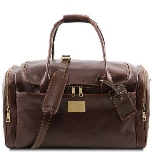 TL Voyager Дорожная кожаная сумка с боковыми карманами Темно-коричневый TL141296