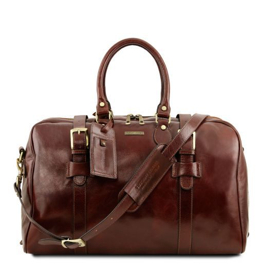 TL Voyager Leather travel bag with front straps - Small size Brown TL141249