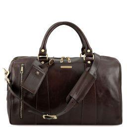 TL Voyager Дорожная кожаная сумка-даффл - Малый размер Темно-коричневый TL141216