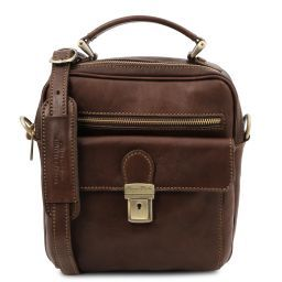 Brian Leather shoulder bag for man Dark Brown TL141978