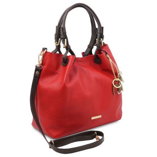 TL KeyLuck Bolso shopping en piel suave Rojo Lipstick TL141940