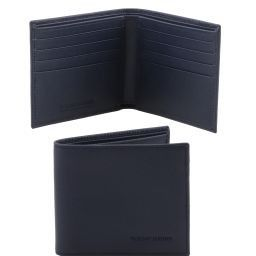 Esclusivo portafoglio uomo in pelle Saffiano 2 ante Blu scuro TL141437