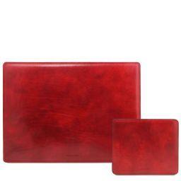 Office Set Sous-mains et tapis de souris en cuir Rouge TL141980