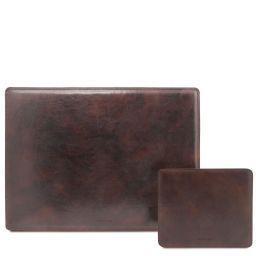 Office Set Carpeta de escritorio y alfombrilla de piel Marrón oscuro TL141980