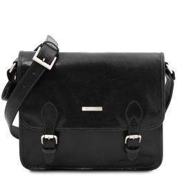 TL Postman Leather messenger bag Black TL141288
