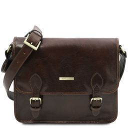 TL Postman Leather messenger bag Dark Brown TL141288