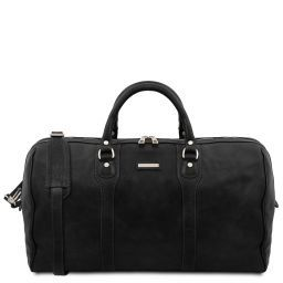Oslo Travel leather duffle bag - Weekender bag Black TL141913