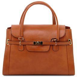 TL NeoClassic Leder Handtasche mit eleganten Drehverschluss Honig TL141230