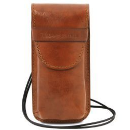 Exclusive leather eyeglasses/Smartphone holder Large size Honey TL141321