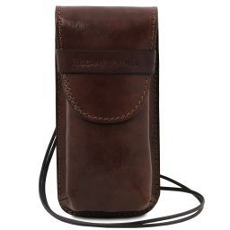 Exclusive leather eyeglasses/Smartphone holder Large size Dark Brown TL141321