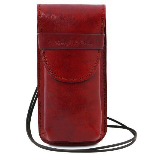 Esclusivo portaocchiali/Portacellulare a tracolla in pelle Misura grande Rosso TL141321
