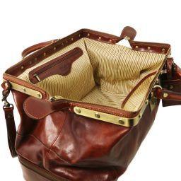 Siviglia Two wheeles double-bottom Gladstone leather bag Темно-коричневый TL141451