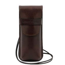 Exclusiva funda para gafas/Smartphone/porta reloj en piel con bandolera Marrón oscuro TL141282