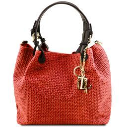 TL KeyLuck Woven printed leather shopping bag Lipstick Red TL141573