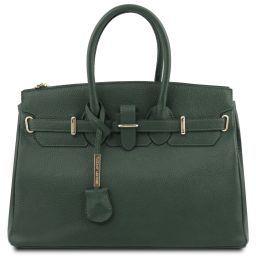 TL Bag Handtasche aus Leder mit goldfarbenen Beschläge Tannengrün TL141529