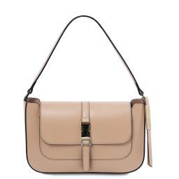 Noemi Leather clutch handbag Champagne TL141959