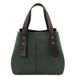 TL Bag Borsa shopping in pelle Verde Foresta TL141730