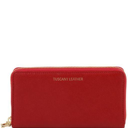 Esclusivo portafogli donna in pelle Saffiano a 2 scomparti con zip Rosso TL141462