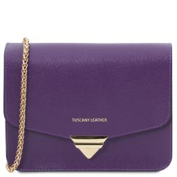 TL Bag Saffiano leather clutch with chain strap Purple TL141954