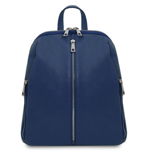 TL Bag Lederrucksack für Damen aus weichem Leder Dunkelblau TL141982