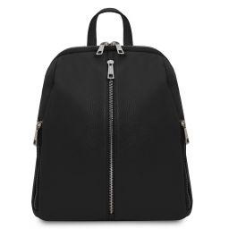 TL Bag Lederrucksack für Damen aus weichem Leder Schwarz TL141982