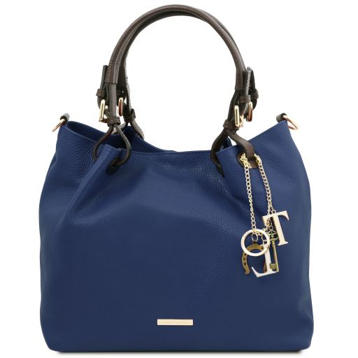 TL KeyLuck Borsa shopping in pelle morbida Blu scuro TL141940