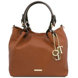 TL KeyLuck Soft leather shopping bag Cognac TL141940