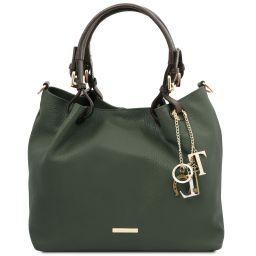 TL KeyLuck Bolso shopping en piel suave Verde Oscuro TL141940