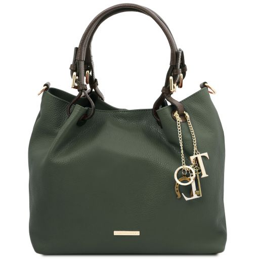 TL KeyLuck Borsa shopping in pelle morbida Verde Foresta TL141940