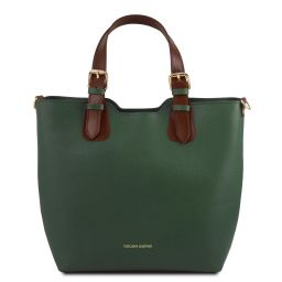 TL Bag Saffiano leather tote Forest Green TL141696