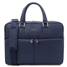 Treviso Leather laptop briefcase Dark Blue TL141986