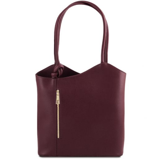 Patty Borsa donna convertibile a zaino in pelle Saffiano Bordeaux TL141455