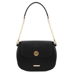 Fresia Leather shoulder bag Black TL141956