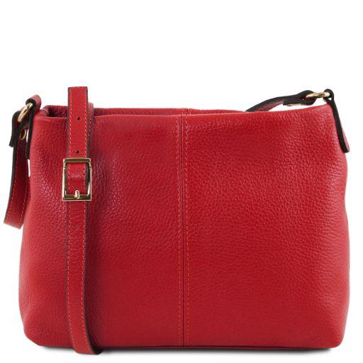 TL Bag Bolso con badolera en piel suave Rojo Lipstick TL141720