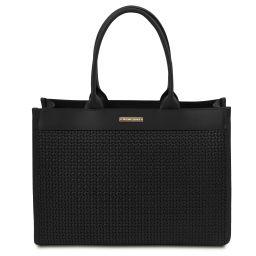 TL Bag Bolso shopping en piel imprimida tejida Negro TL141724