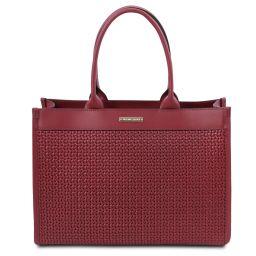 TL Bag Bolso shopping en piel imprimida tejida Rojo TL141724
