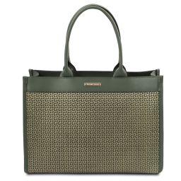 TL Bag Кожаная сумка-шоппер с плетеным теснением Forest Green TL141724