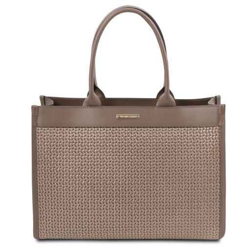 TL Bag Borsa shopping in pelle stampa intrecciata Talpa scuro TL141724