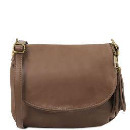 TL Bag Bolso en piel suave con borla y bandolera Marrón topo oscuro TL141223